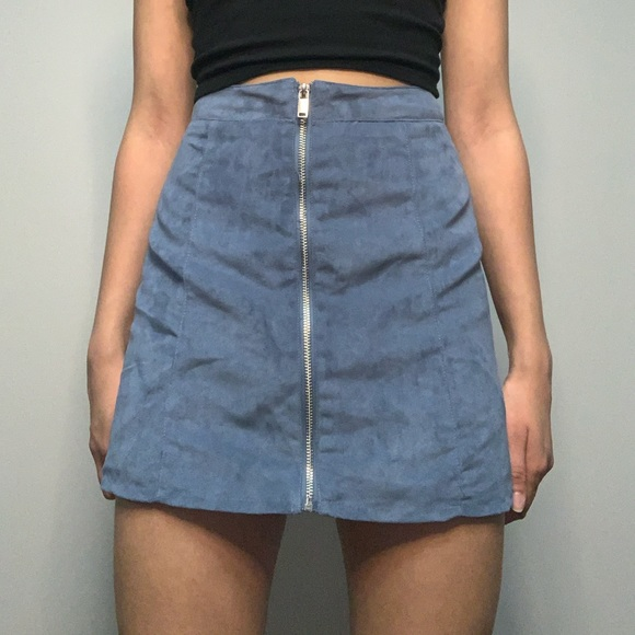 Blue zip up skirt